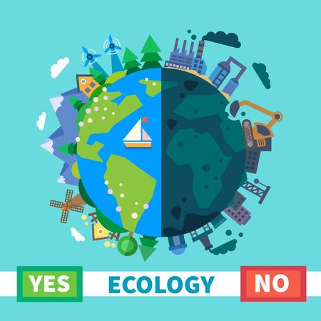 Ekoloji. Çevresel koruma. Doğa ve Kirlilik. Vektör düz illüstrasyon Çizim