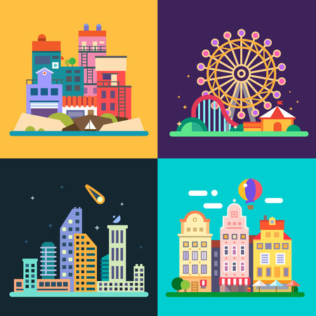 amusement: Different urban landscapes: colored houses by the sea amusement park night skyscrapers historic city center. Vector flat illustrations