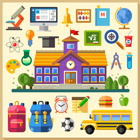 Education. School. University. Vector flat icon set and illustrations: building bus backpack schedule physics chemistry mathematics computer science on line training Vettoriali