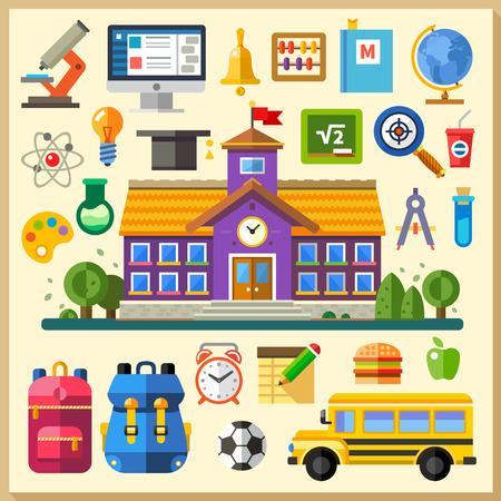 Oktatás. Iskola. Egyetem. Vektor lapos, ikon, állhatatos és illusztrációk: az épület busz hátizsák menetrend fizika, kémia matematika számítástechnika on-line képzés Illusztráció