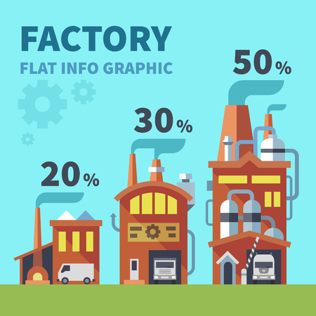 Factory. Flat info graphic elements. Vector illustration