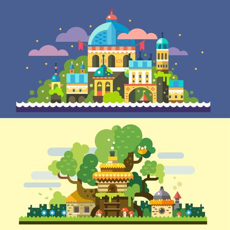 幻想的な風景: 夜海星空雲ツリーハウス森の空き地で茅葺き屋根の石造りの家で魔法の城。ベクトル平面イラストと背景  イラスト・ベクター素材