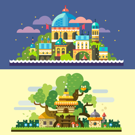 Fantastic landscape: magic castle at night sea starry sky clouds tree house stone house with thatched roof in forest glade. Vector flat illustrations and backgrounds