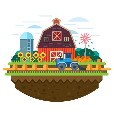 Ферма пейзаж. Сельское хозяйство Растениеводство комбайн поле сено. Вектор иллюстрация плоским