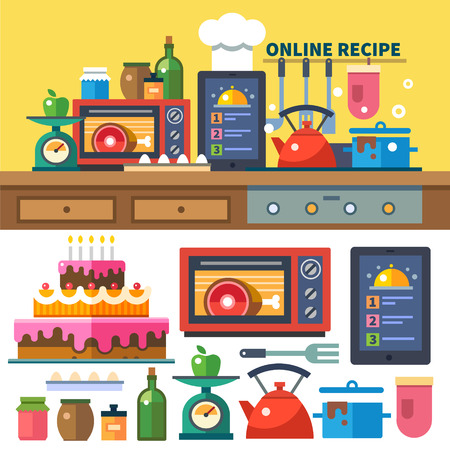 Find recipes online. Kitchen and cooking: food preparation dishes oven stove spices jams scales vegetables fruits.