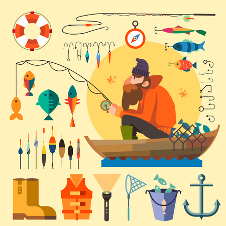 cartoon human: Fisherman in a boat fishing: fishing rod hooks bait boat fish anchor water beard chain compass. Vector flat illustrations