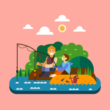 family holiday: Fishing landscape. Men sitting on bank of river and fishing. Vector flat illustration Illustration