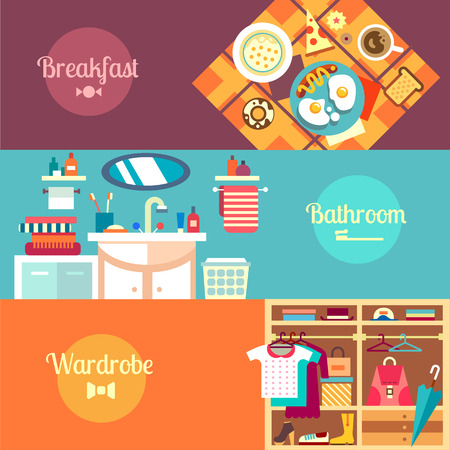 Good Morning in a flat style Morning. Breakfast: eggs sausage pizza coffee donuts toast. Bathroom: sink shower Wardrobe: Tshirt dress bag umbrella Vector flat illustration and background Ilustração