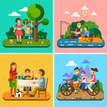 Happy family: moeder en kind kind op een schommel vissen familie aan tafel fietsen. Vector flat illustratie Stock Illustratie
