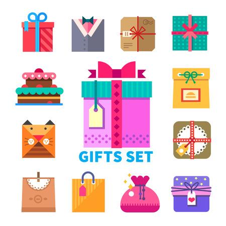 フラット スタイル ギフト セット ギフトお祝い贈答包装および装飾のオリジナルのデザインを設定します。ケーキお菓子バッグ ボー ギフト包装。ベクトル フラット イラストやアイコンを設定 写真素材 - 40502679