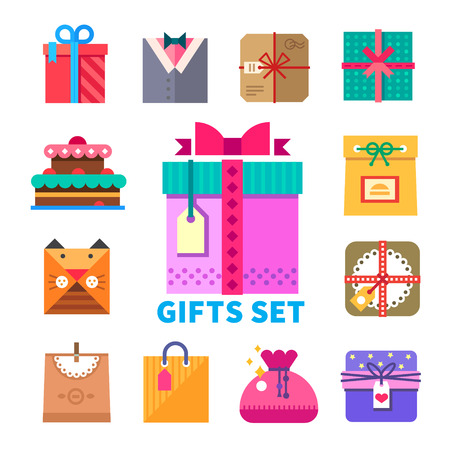 Gifts set in flat style Gifts set Packaging and decoration original design giving gifts in celebration. Cake candy bag bow gift wrapping. Vector flat illustrations and icon set