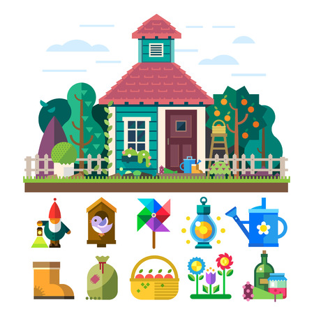 rural house: Garden and orchard. House garden trees flowers bed tools watering light basket fruit vegetables birdhouse. Vector flat illustration and icon set