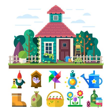 Tuin en boomgaard. Huis tuin bomen bloemen bed gereedschap drenken licht mand vruchtgroenten vogelhuisje. Vector flat illustratie en icon set