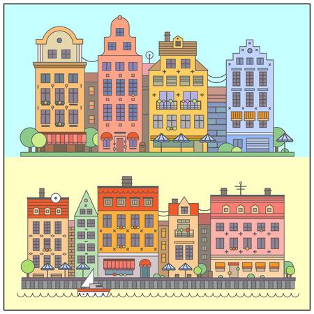 European street landscape. Vector flat illustrations: embankment old houses cafes shops market stalls boat park trees.