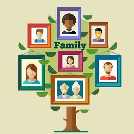 arbol genealógico: Familia relaciones y tradiciones de los árboles. Retratos de los pueblos en los marcos: Madre abuelo padre abuela del niño. Vector ilustraciones planas