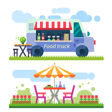 food on white: Food delivery. Picnic. Mobile cafe in nature. Truck with food. Outdoor recreation. Vector flat illustration Illustration