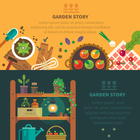 Garden backgrounds for site. Set of farm elements: lantern shovel watering can basket of apples fruits vegetables flowers tools shelf. Vector flat illustrations