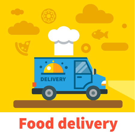 food: Food delivery car. Vector flat illustration