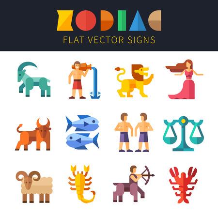 Flat zodiac signs astrology. Aquarius Virgo Scorpio Taurus Pisces Sagittarius Leo Libra Aries Capricorn Gemini Cancer Vector flat illustrations