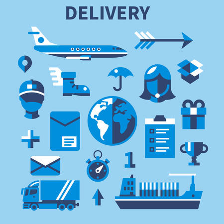 Flat design modern vector illustration concept mobile shopping communication and delivery service. Isolated on colored stylish background. Ilustracja