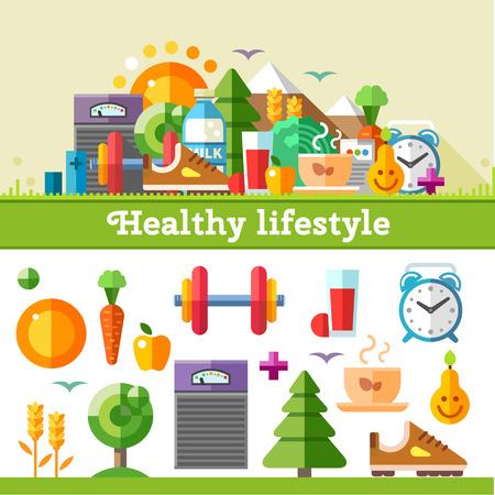 actividad: Estilo de vida saludable. Vector icono plana conjunto de la ilustración: deporte corriendo ejercicio de caminar de gimnasia en maderas aire fresco nutrición adecuada saludable frutas alimentos vehículos vitaminas cereales horario