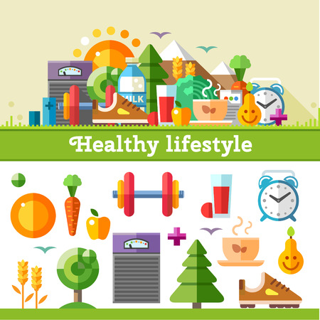 lifestyle: Healthy lifestyle. Vector flat icon set illustration: sport running exercise gymnastic walking in woods fresh air proper nutrition healthy food fruits vegetables vitamins cereals schedule