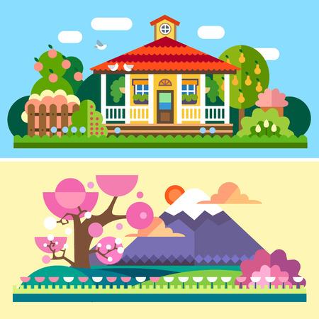 플랫 봄과 여름 봄과 여름 풍경. 빨간 지붕과 테라스 꽃 사과와 배 나무 집과 정원. 일본 벚꽃 후지산 필드. 벡터 평면 그림