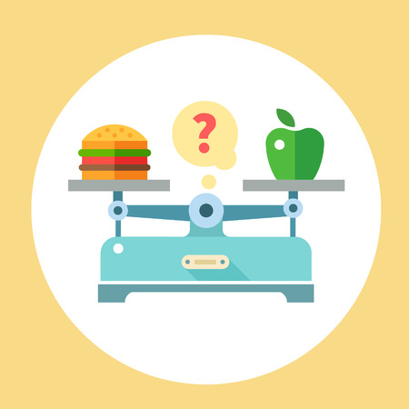 unhealthy diet: Apple and hamburger on scales. Diet. Healthy food. Vector flat illustration