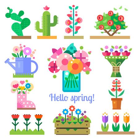 花店。您好春季和夏季。鬱金香仙人掌玫瑰牡丹。矢量插圖平圖標和精靈遊戲