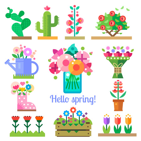 spring summer: Flower shop. Hello spring and summer. Tulips cactus roses peonies. Vector flat illustrations icons and sprites for game