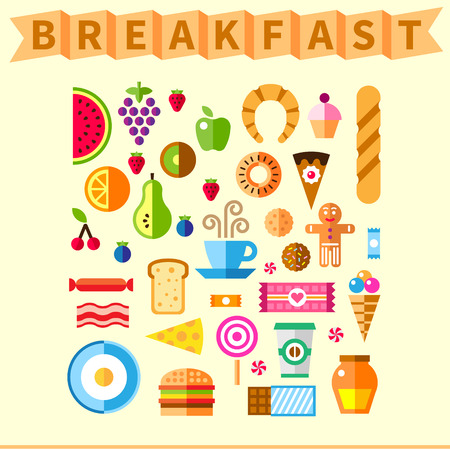 fruit juices: Good breakfast flat icon set in the morning Illustration