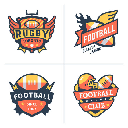 sport background: Football and rugby emblems. Illustration
