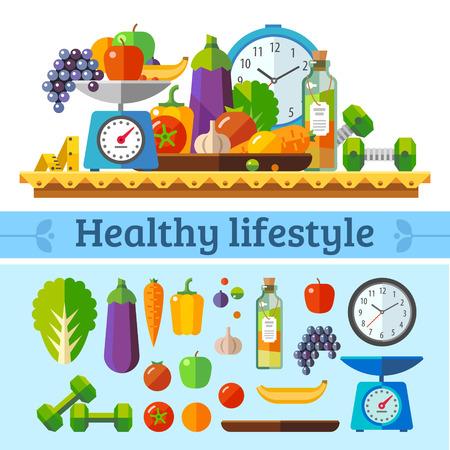Sağlıklı yaşam, sağlıklı bir diyet ve günlük rutin. Vektör düz illüstrasyon. Çizim