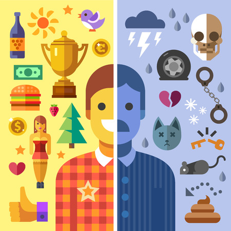 God and evil in man good and bad mood fun and sadness.Color vector flat icon set and illustration opposites: sun money girl love joy success health storm death accident rat poop handcuffs