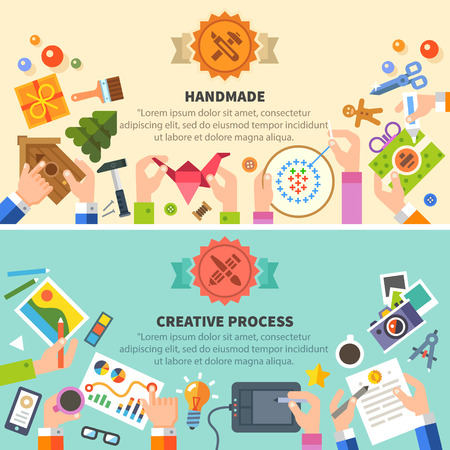 Handmade and creative process: drawing photo embroidery workshop. Vector flat illustrations Иллюстрация