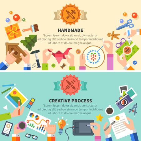 Kézzel készített, kreatív folyamat: rajz fotó hímzés műhely. Vektor lapos illusztrációk