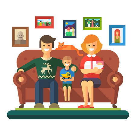 Happy family: cheerful child father mother sit on couch. Vector flat illustration Иллюстрация