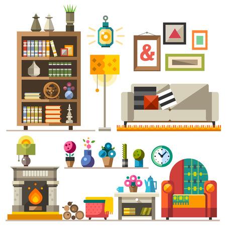 가정용 가구. 인테리어 디자인. 요소 집합 : wardrobebookcase 소파 벽난로 시계 램프 꽃 사진. 휴식과 수면의 영역을 장식. 벡터 평면 그림