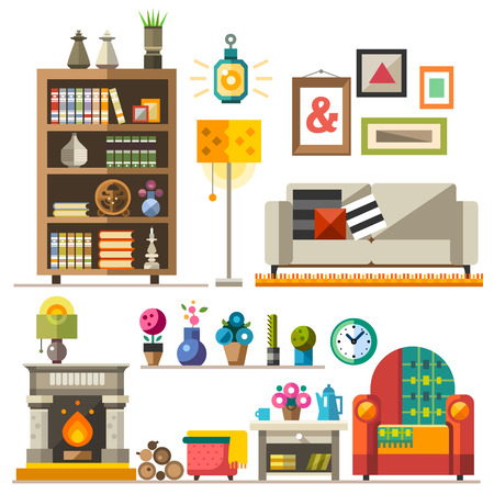 living room wall: Home furniture. Interior design. Set of elements: wardrobebookcase sofa fireplace clock lamp flowers pictures. Decorating zone of rest and sleep. Vector flat illustrations