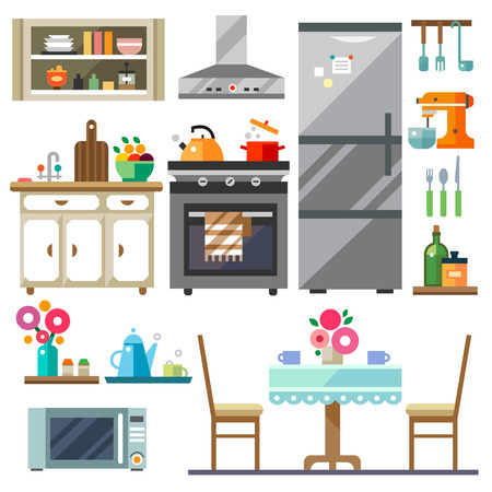 stove: Home furniture. Kitchen interior design.Set of elements: refrigerator stove microwavecupboards dishes table chairs. Vector flat illustration