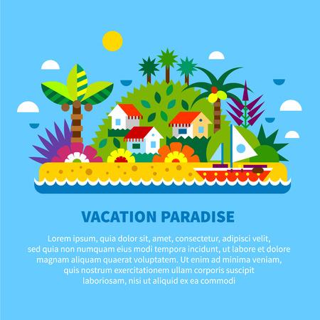 Casa na ilha em trópicos. Férias de verão. Vila casas árvores palma mar barco plantas exóticas e frutas. Vector ilustração plana