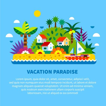 island paradise: House on island in tropics. Summer vacation. Village houses palm trees sea beach boat exotic plants and fruits. Vector flat illustration