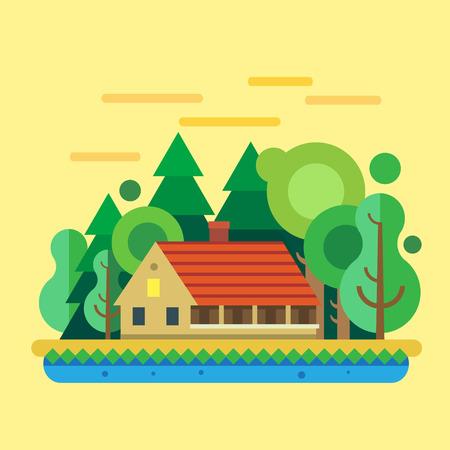 House in forest summer landscape. Vector flat illustration
