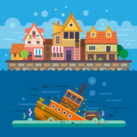 sunken: Houses by the sea. Embankment. Houses. Underwater World. Sunken ship. Vector flat illustration