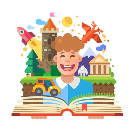Immaginazione concetto di bambino con il libro aperto. Fairy Tales: caratteri castello drago auto a razzo tempio yeti montagna. Vector piatta illustrazione