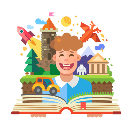 Imagination concept child with open book. Fairy Tales: characters castle dragon rocket car yeti temple mountain. Vector flat illustration Illustration
