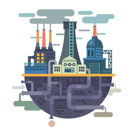 Индустриальный пейзаж. Завод или фабрика. Экология. Загрязнение. Вектор иллюстрация плоским