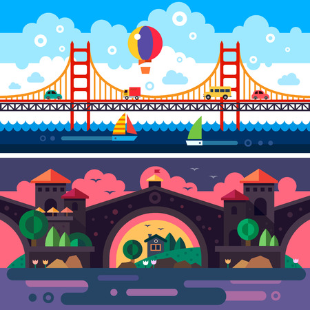 sunset clouds: Landscape with bridge. Day and night. Clouds. Vector flat illustrations