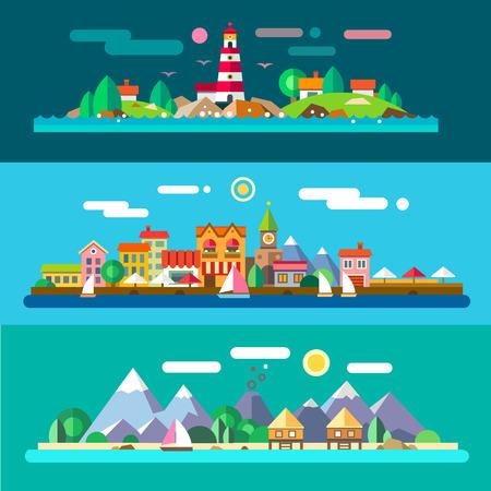 Paesaggi dal mare: faro e rocce beach resort città argine. Illustrazioni vettoriali piane