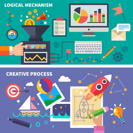 development process: Logical mechanism and the creative process. Left and right hemispheres of the brain. Vector flat illustration